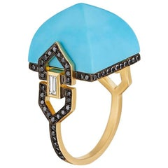 Doryn Wallach Harlow Cocktail Ring in Turquoise and Black Diamonds