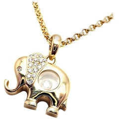 Chopard Diamond Happy Elephant Yellow Gold Pendant Necklace