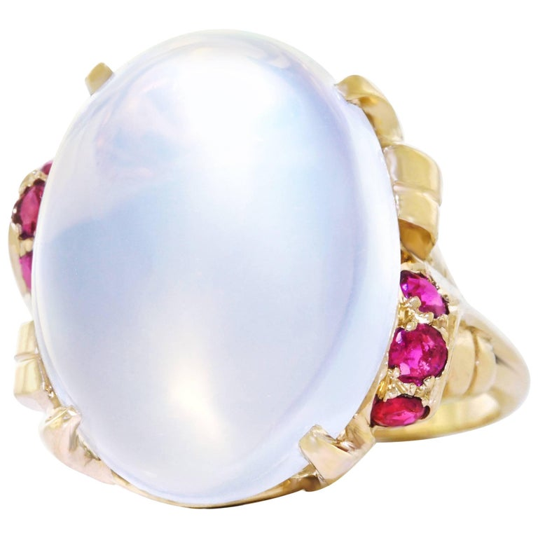 15.67 Carat Moonstone and Ruby Set Gold Ring For Sale