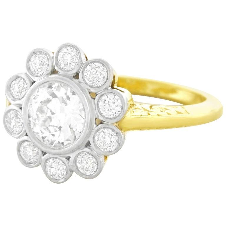 Art Deco Diamond Set Platinum and Gold Ring
