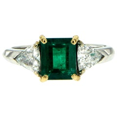 Estate Colombian Emerald Diamond Gold Ring