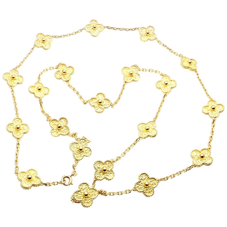 Van Cleef & Arpels Vintage Alhambra Yellow Gold 20 Motif Necklace