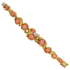 1970s Julia-Plana, Peach Moonstone, Diamond and Gold Bracelet