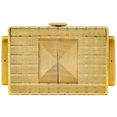 Cartier Yellow Gold Traveling Shutter Mechanical wind Watch Clock