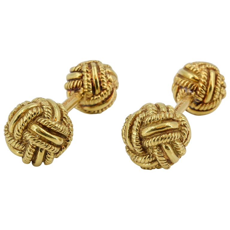Tiffany & Co. Schlumberger Gold Knot Dumbbell Cufflinks For Sale