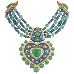 Unique Diamond, Emerald and Sapphire Heart Necklace