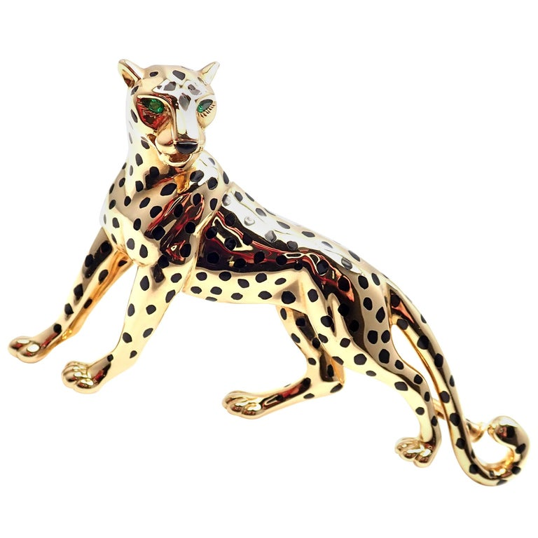 Cartier Panther Panthere Onyx Emerald Yellow Gold Large Pin Brooch For Sale