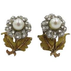 Mario Buccellati Gold, Silver, Pearl and Diamond Flower Earrings