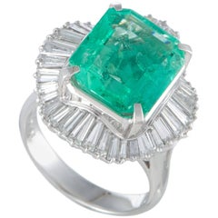 Emerald and Diamond Baguette Platinum Cocktail Ring