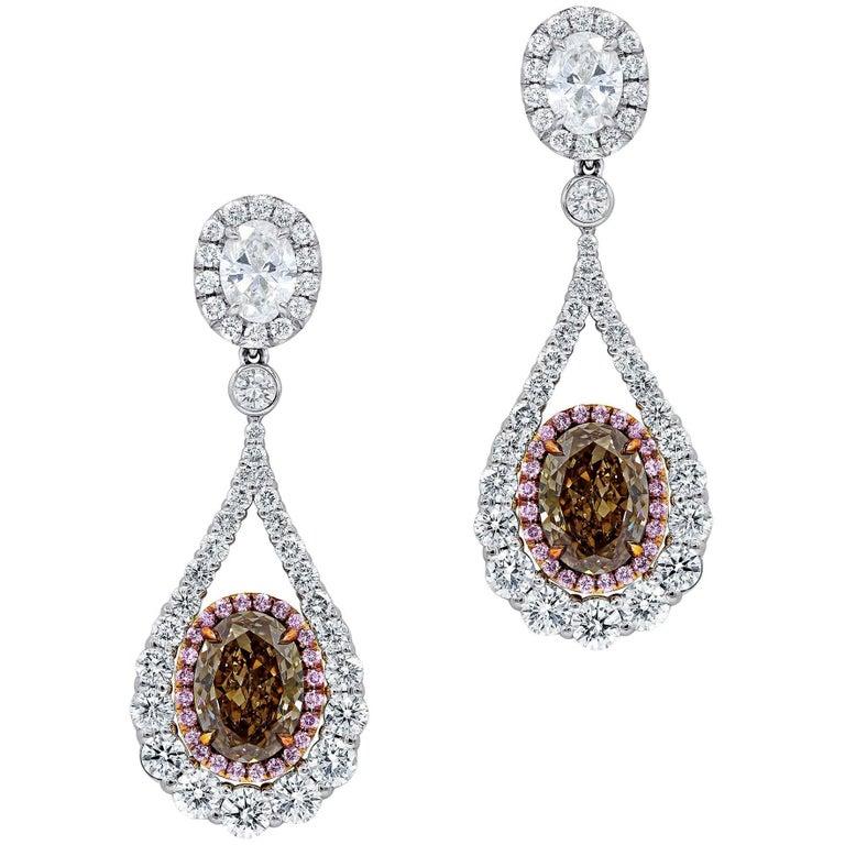 4 02 Carat Gia Certified Oval Shaped Diamond Earrings For