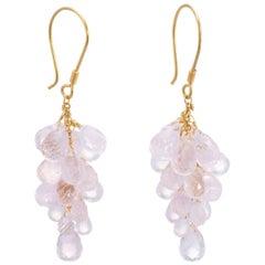 Rose Quartz Briolette Drop Earrings Estate 18 Karat Yellow Gold