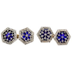 Antique Diamond and Enamel Platinum Topped and Gold Cufflinks