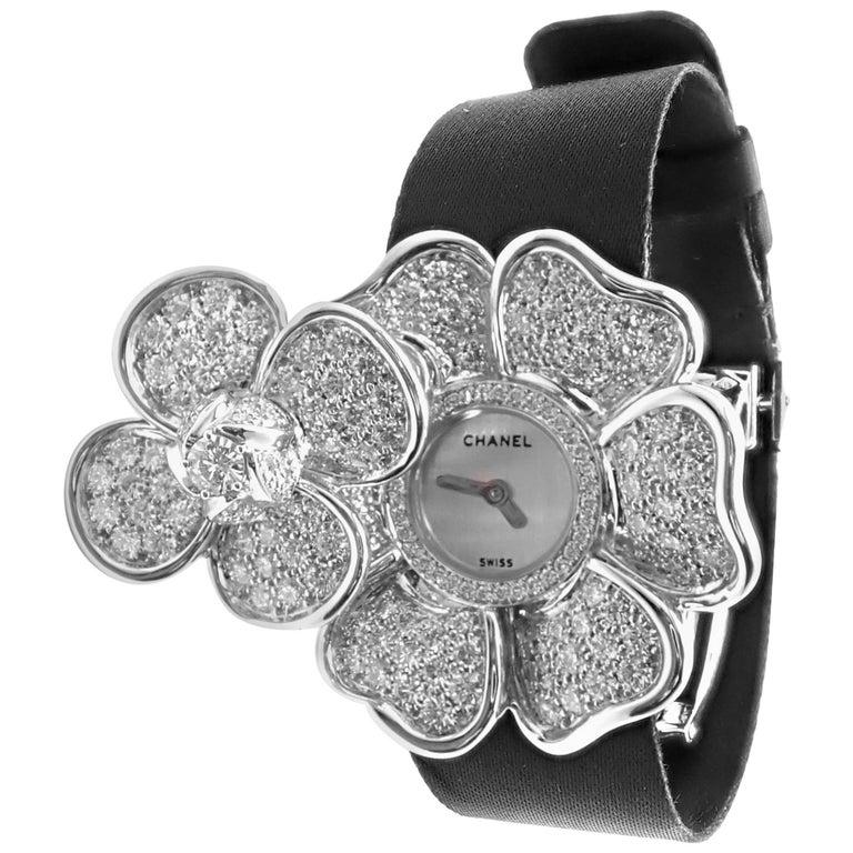 Chanel Ladies White Gold Diamond Secret Camélia Quartz Wristwatch