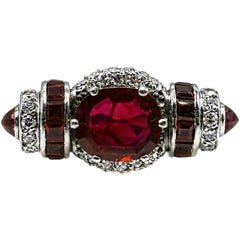 Rare Art Moderne 2.09 Carat Burma No Heat Natural Ruby Platinum Diamond Ring
