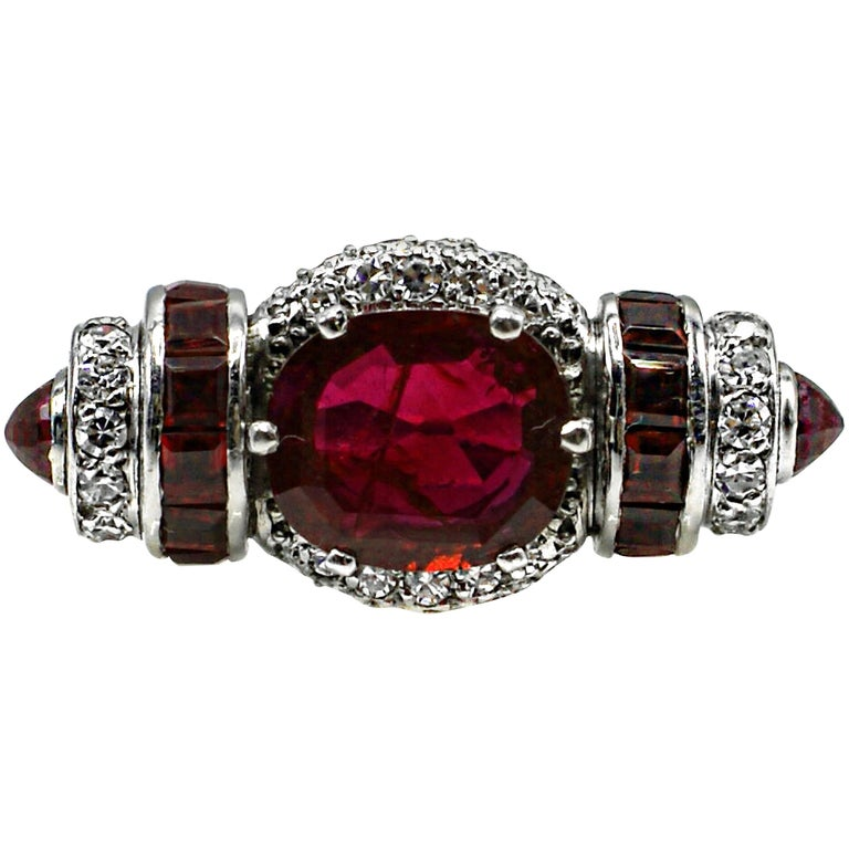 Rare Art Moderne 2.09 Carat Burma No Heat Natural Ruby Platinum Diamond Ring For Sale