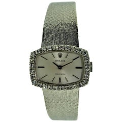 Rolex 18 Karat White Gold Dress Watch with Diamond Bezel, circa 1970-1971