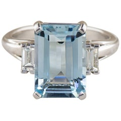 4.26 Carat Emerald Cut Aquamarine and Diamond Ring