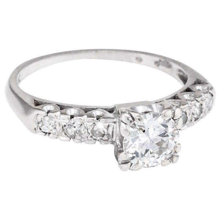 Art Deco .85 Carat Diamond Engagement Ring