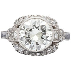 2.73 Carat Round Brilliant-Cut and Platinum Engagement Ring