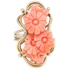 Carved Coral Flower Ring Vintage 14 Karat Yellow Gold