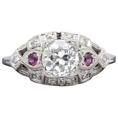 Estate Diamond and Ruby Engagement Ring