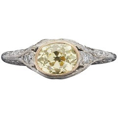 GIA 1.07 Carat Natural Fancy Yellow Diamond Ring