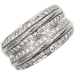 Charriol Diamond 18 Karat White Gold Wide Band Ring