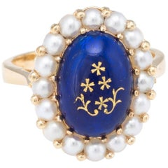 Enamel Cultured Pearl Princess Cocktail Ring Vintage 18 Karat Yellow Gold
