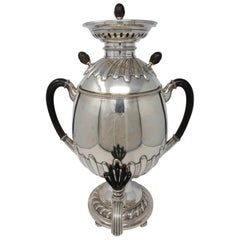 Russian Egg Shaped Samovar with Ebonized Wood Handles
