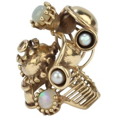 Large Lee Peck Steam Punk Pearl, Opal, and 14 Karat Yellow Gold Ring