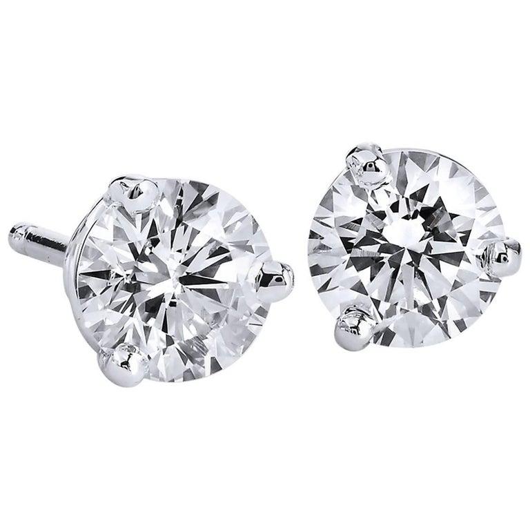 H & H 0.84 Carat Diamond Stud Earrings