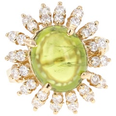 7.42 Carat Peridot Diamond Ring 14 Karat Yellow Gold