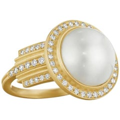 Doryn Wallach Empire South Sea Pearl and Diamond Cocktail Ring
