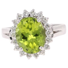 3.41 Carat Peridot Diamond Ring 14 Karat White Gold