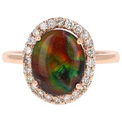 2.27 Carat Ammolite Diamond Rose Gold Ring