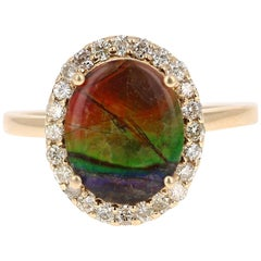 2.42 Carat Ammolite Diamond Yellow Gold Ring