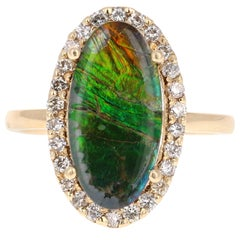 3.27 Carat Ammolite Diamond Yellow Gold Ring