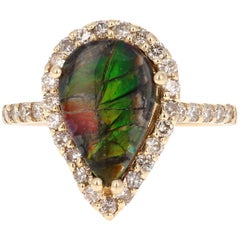 2.19 Carat Ammolite Diamond Yellow Gold Ring