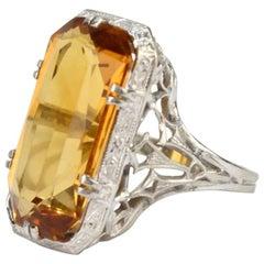 18 Karat Filigree White Gold and Emerald Cut Citrine Cocktail Ring