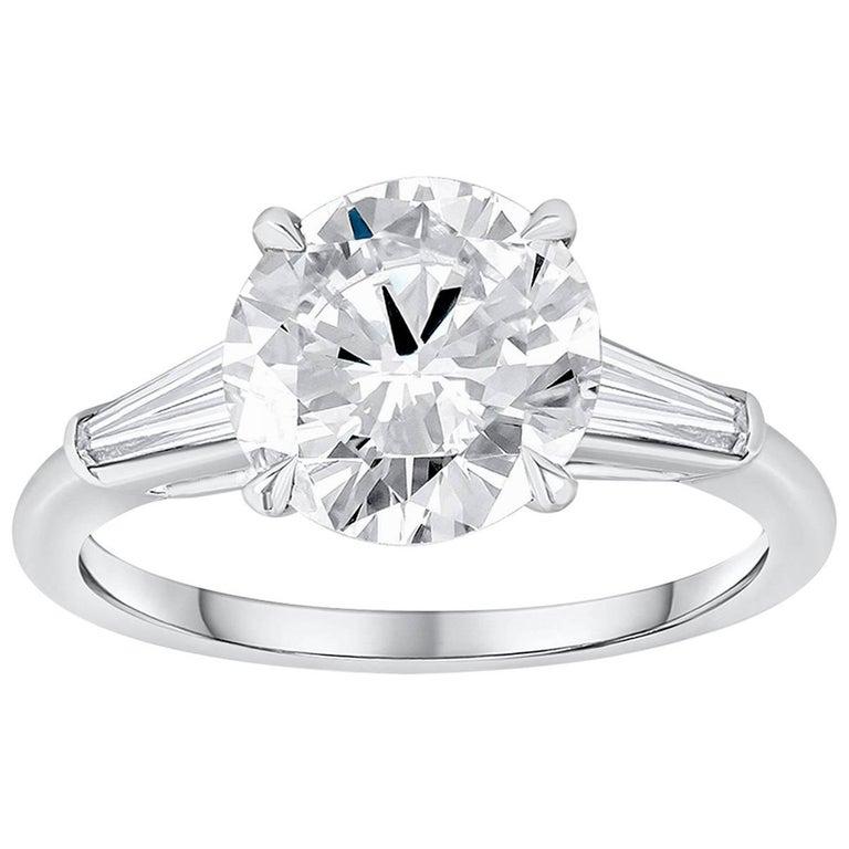 2.56 Carat Round Diamond Three-Stone Engagement Ring