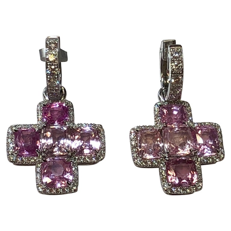Pink Sapphire and White Diamond Dangle Earrings in 18 Karat White Gold
