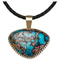 Robert Sorrell, Bisbee Turquoise, Gold and Silver Pendant