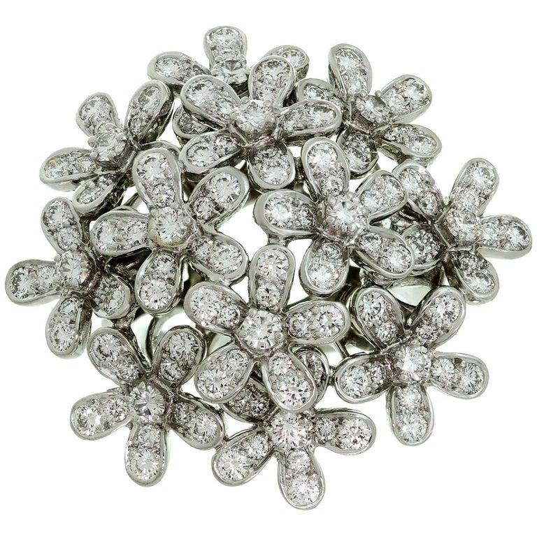 Van Cleef & Arpels Socrate Diamond White Gold Flower Bouquet Ring