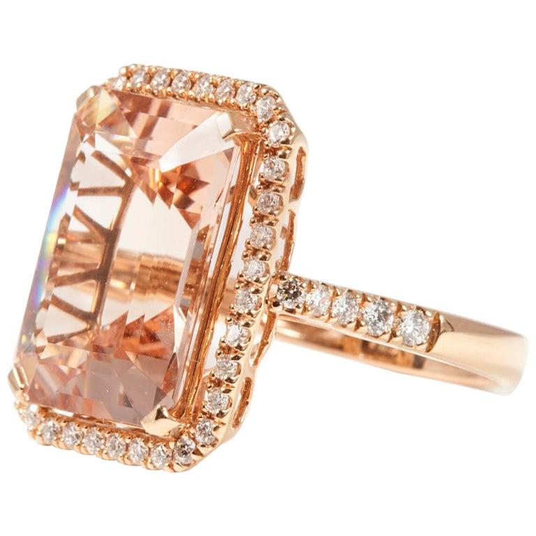 18 Karat Rose Gold Morganite and Diamond Cocktail Ring