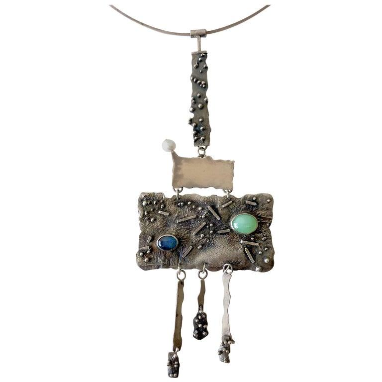 R. Nye Opal Jade Pearl California Modernist Studio Sterling Silver Necklace