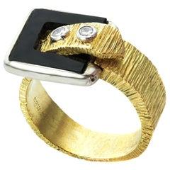 Diamond Black Onyx Textured Gold Unisex Belt-Buckle Ring