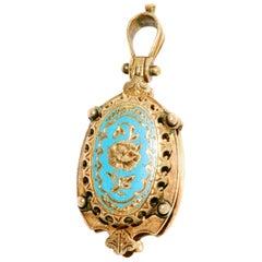 Victorian Blue Enamel Yellow Gold Locket Pendant