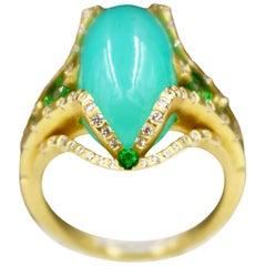 Ryan Roberts, Chrysocolla Gem Silica Ring, 18 Karat Gold, Gem Silica, Tsavorite