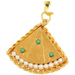 Turquoise Pearl Yellow Gold Fan Locket