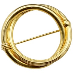 Classic Circle Round 18 Karat Gold Pin